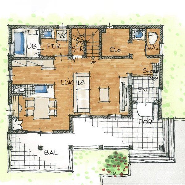コロニアルモデルハウス1階の間取りのイメージ