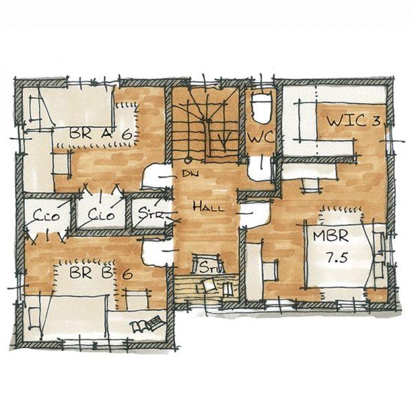 コロニアルモデルハウス2階の間取りのイメージ